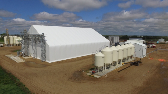 Fertilizer House, Dry Bulk Fertilizer Storage Fabric Building, Fertilizer Building Design, Fertilizer Storage Building Contractor, Builder, Minnesota, MN, South Dakota, SD, North Dakota, ND, Nebraska, NE, Iowa, IA, Illinois, IL, Indiana, IN, Michigan, MI, Ohio, OH, Calhoun Building, Bulk Storage, Seed Treating Building